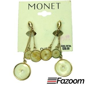 Monet Vintage Gold-Tone Dangle Clip-On Earrings
